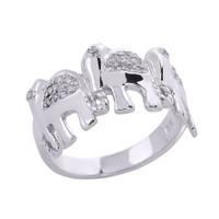 White Gold CZ Studded Three Elephant Ladies Ring