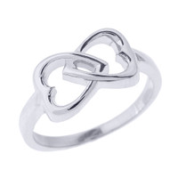 Sterling Silver Infinity Double Heart Ring