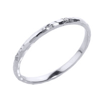 White Gold 2 mm Hammered Stackable Diamond Ring