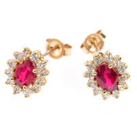 Genuine Ruby Ruby and Cubic Zirconia Yellow Gold Stud Earrings