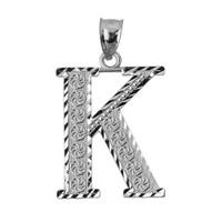 Initial K Silver Charm Pendant