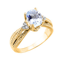 Yellow Gold Aquamarine and Diamond Proposal Ring