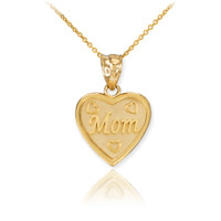 Gold 'MOM' Heart Pendant Necklace