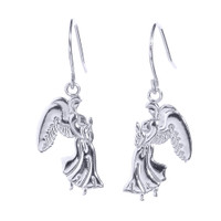 White Gold Praying Angels Earrings
