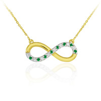 14K Gold Emerald and Diamond Infinity Necklace