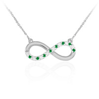 14K White Gold Emerald and Diamond Infinity Necklace