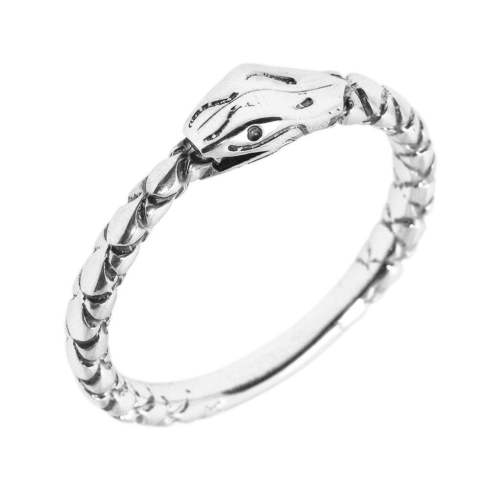sterling silver ouroboros snake thumb ring