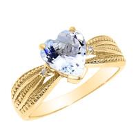 Beautiful Yellow Gold Aquamarine and Diamond Proposal Ring