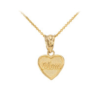 Mom' charm necklace available in 10k & 14k gold.