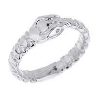 Solid White Gold Unisex Ouroboros Snake Thumb Ring (7 mm Head)