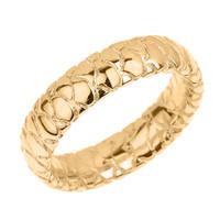 Yellow Gold 5.5 MM Textured Unisex Wedding Band