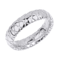 White Gold 5.5 MM Textured Unisex Wedding Band