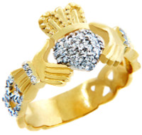 18k Gold Claddagh Rings with Diamonds .50 carats.