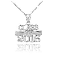Silver 'CLASS OF 2016' Graduation Charm Pendant Necklace