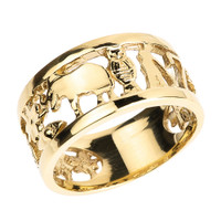 Solid Yellow Gold Unisex Lucky Ring