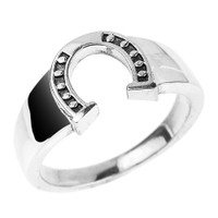 Sterling Silver Men's Horseshoe Ring
