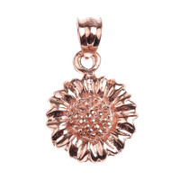 Rose Gold Sunflower Charm Pendant Necklace