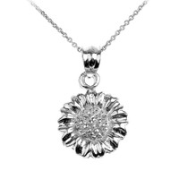 Sterling Silver Sunflower Charm Pendant Necklace