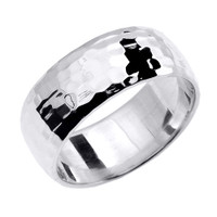 Sterling Silver Hammered Thumb Ring 8.0 mm