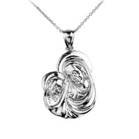 White Gold Madonna and Child Mother's Embrace Pendant Necklace