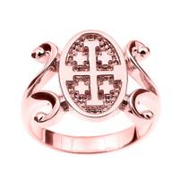 Rose Gold Jerusalem Cross Ladies Ring