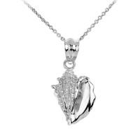 White Gold Seashell Charm Pendant Necklace