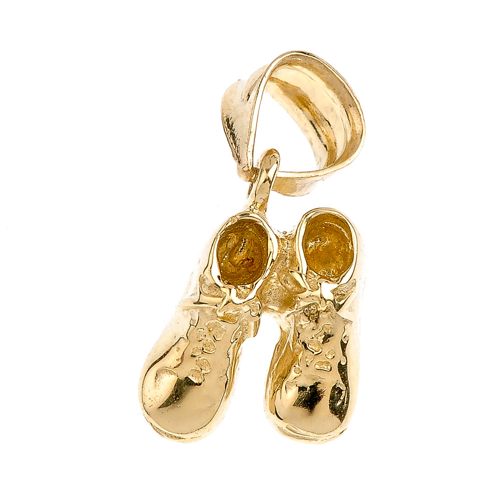 Gold Baby Boy Shoes Charm Pendant