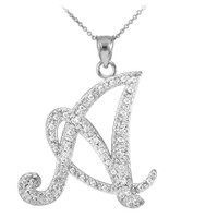"""14k White Gold Letter Script """"A"""" Diamond Initial Pendant Necklace"""