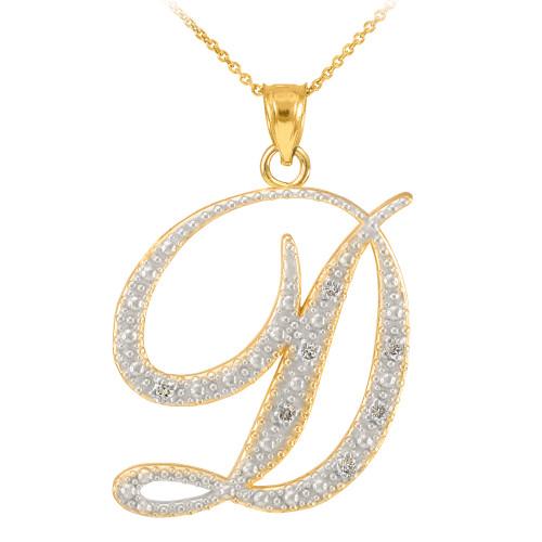 14k gold letter script quotdquot diamond initial pendant necklace for 14k gold letter necklace