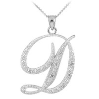 "14k White Gold Letter Script ""D"" Diamond Initial Pendant Necklace"