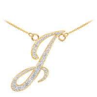 "14k Gold Letter Script ""I"" Diamond Initial Necklace"