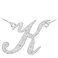 "14k White Gold Letter Script ""K"" Diamond Initial Necklace"