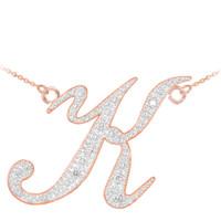 "14k Rose Gold Letter Script ""K"" Diamond Initial Necklace"