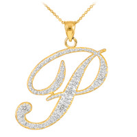 """14k Gold Letter Script """"P"""" Diamond Initial Pendant Necklace"""