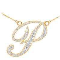 """14k Gold Letter Script """"P"""" Diamond Initial Necklace"""