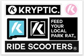 "Kryptic Pro Scooters Sticker Sheet 6"" x  4"""