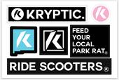 "Kryptic Pro Scooters Sticker Sheet 6"" x  4"""