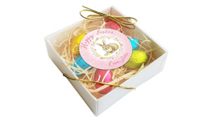 Pink Floral Bunny Personalised Easter Egg Nest Box