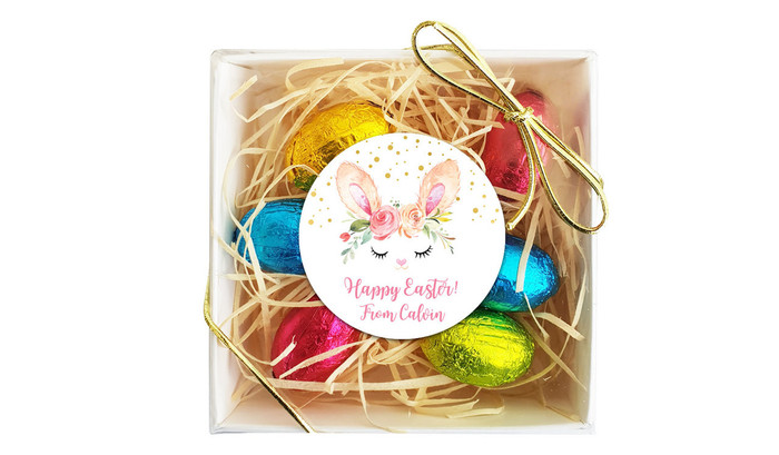 Bunny Face Personalised Easter Egg Nest Box