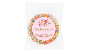 Floral Pink Personalised Birthday Chocolate Freckle