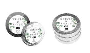 Eucalyptus Custom Wedding Chocolate Coins