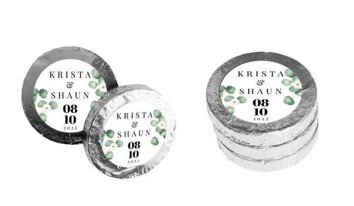 Eucalyptus Custom Wedding Chocolate Coins
