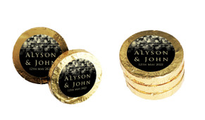 Gold Lights Custom Wedding Chocolate Coins