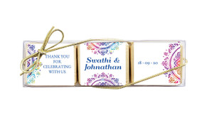 Radiant Mandala Custom Mini Chocolate Trio Wedding Favour