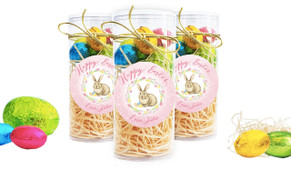 Floral Pink Bunny Personalised Easter Egg Tube