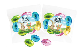 Bunny And Basket Personalised Bag Of Easter Eggs