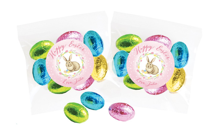 Pink Floral Bunny Personalised Bag Of Easter Eggs