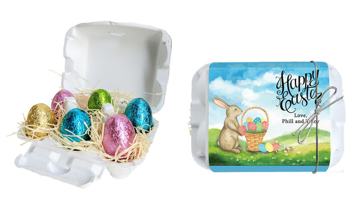 Bunny And Basket Personalised Easter Egg Carton