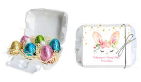 Bunny Face Personalised Easter Egg Carton