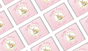 Pink Floral Bunny Easter Personalised Mini Chocolates